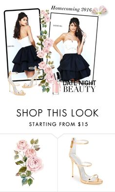 """""""Sherri Hill 50673 Ivory Black Strapless Homecoming Dress"""" by chicpromdress ❤ liked on Polyvore featuring Sherri Hill and Giuseppe Zanotti"""