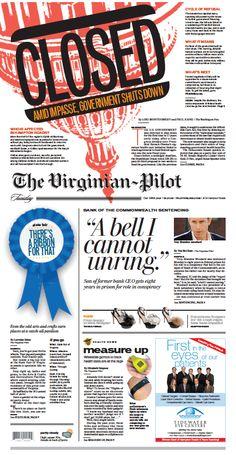 (文字+上下色塊)The Virginian-Pilot, published in Norfolk, Virginia USA The Virginian, Newspaper Layout, Newspaper Design, Page Layout, Layout Design, Layouts, Front Page Design, Typography Quotes, Journaling