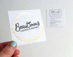 Business card design for Beautimous Lashes & Brows, eyelash extension and microblading salon. Printed with gold foil. Business Logo Design, Business Card Logo, Lash Names, Home Beauty Salon, Brow Studio, Nail Logo, Lashes Logo, Bussiness Card, Salon Names