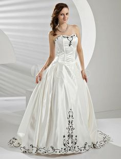 Vestido de casamento de cetim marfim bordado Strapless-Line - Milanoo.com