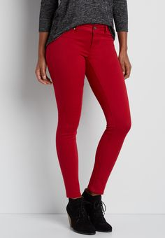 DenimFlex™ jegging in fire red (original price, $34.00) available at #Maurices