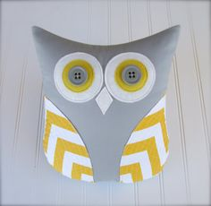 owl pillow, gray and yellow pillow, chevron yellow and white pillow, decorative pillow, grey yellow nursery, whimsysweetwhimsy READY TO SHIP on Etsy, $38.00