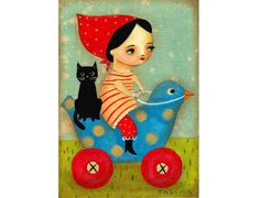 ORIGINAL black cat and babushka on riding bird toy by tascha