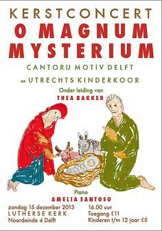 O Magnum Mysterium 30 x 21 cm 2012|  Digitale tekening, digitaal ontwerp, geprint Opdracht Cantorij Delft | oplage 100