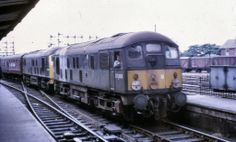 Preston Railway Station August 3, 1968  On the last day of steam, two class 24 diesel loco's head north through the station. D5040 and D5044. D5040 eventually became 24040. Built at Crewe Works and delivered on 12th Oct 1959. Withdrawn on 4th Jan 1976 and cut up at Swindon Works on 1st Feb 1977. Diesel Locomotive, Electric Locomotive, Steam Locomotive, Train Room, Electric Train, British Rail, Rolling Stock, Old Trains, Diesel Engine