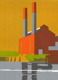 Love this linocut :) Currently being used to advertise the UK Affordable Art fair October 2011 Paul Catherall Industrial Paintings, Castor And Pollux, Make Do And Mend, Affordable Art Fair, Cartoon Background, Japanese Prints, Gravure, Urban Art, Creative Art