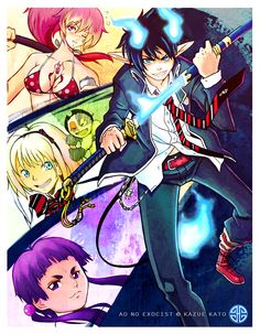 Shiemi, Shura, Izumo & Rin Okumura - Blue Exorcit / Ao no Exorcit Ao No Exorcist, Blue Exorcist, Rin Okumura, Mephisto, Popular Anime, Love Blue, Anime Shows, Tokyo Ghoul, Cute Pictures