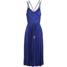 Catherine Deane Galactic cutout plissé-satin midi dress ($385) ❤ liked on Polyvore featuring dresses, cobalt blue, cutout dresses, cut out midi dress, blue cut out dress, fitted dresses and midi dress