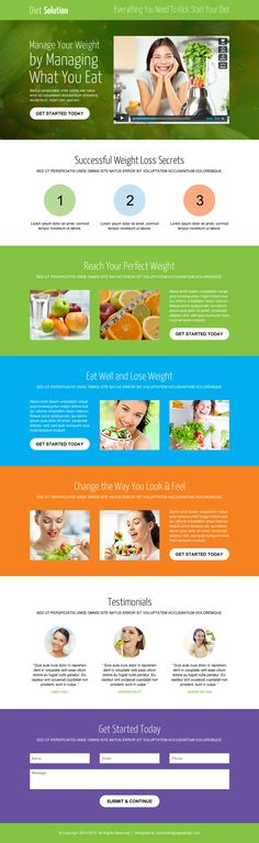 weight loss diet solution video call to action converting landing page
