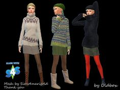 3 Long Sweaters & 3 Skirts by Oldbox at All 4 Sims via Sims 4 Updates