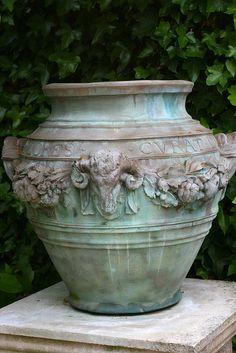 garden urn patina is pretty Manor Garden, Garden Urns, Garden Planters, Dream Garden, Potted Garden, Garden Statues, Pot Jardin, My Secret Garden, Garden Ornaments