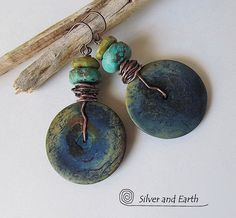 Boho Dangle Earrings, Rustic Earthy Earrings with African Bone, Turquoise & Serpentine, Boho Tribal Gypsy Jewelry, Beadwork Earrings
