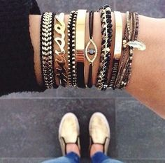 #gold #black #jewelry - TOTALLY STUNNING STACK!! - THEY ALL LOOK SO BEAUTIFUL!!
