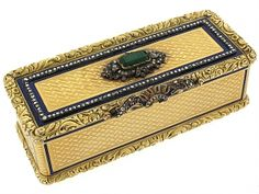 Antique Enameled German Snuff Box in 18K