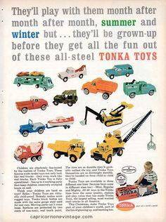 Vintage 1965 Tonka Toys Magazine Ad Mid Century Advertising Retro Room Decor 1960s Kitsch Trucks, $8.00