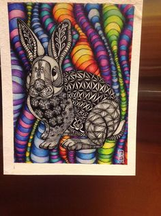 Down the rainbow rabbit hole. Primary School Art, Middle School Art, Classe D'art, 7th Grade Art, High School Art Projects, Zentangle Patterns, Zentangles, Bunny Art, Arts Ed