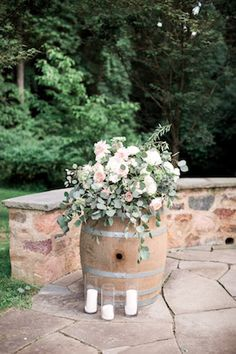 Useful Wedding Event Planning Tips That Stand The Test Of Time Wedding Ceremony Ideas, Romantic Wedding Receptions, Wedding Reception Decorations, Ceremony Arch, Brunch Wedding, Vineyard Wedding, Whiskey Barrel Decor, Whiskey Barrel Wedding, Barrel Flowers