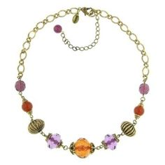 """$26.50 +S/H from #TheSingingSpaniel's #BridalGifts - #1928 #Jewelry #2028 #Collection #Cabazon #Chunky #Colored #Gems and #Puff #Bead #Gold Tone #Necklace -  #Violet #Brass #Purple #orange #red - #Chain up to 19""""L - #Lobster #clasp - #Made #in #the #USA! - #Amethyst Color #Crystals - #Genuine #1928Jewelry #Accessory #unique #design! - #Decadent #Beautiful #Wedding #Bridal #Bridesmaid or #prom #Gift #pretty #Halloween #costume #night #beautiful #royalty #elegant #formal #women's #style"""