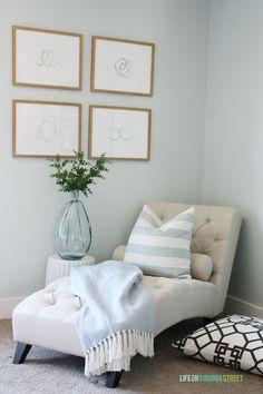 Craft room makeover with Benjamin Moore Healing Aloe walls, neutral furniture, crystal flushmount chandelier, DIY inspiration board & DIY designer pillows.