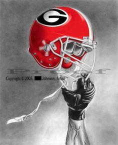 imagies og ga bull dawgs | Georgia Bulldogs UGA Dawg College Helmet Logo Art Print