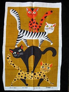 Vintage Balancing Cats Lamont Irish Linen Tea Towel Unused | eBay