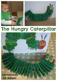 The Hungry Caterpillar. Make your own Very Hungry Caterpillar using clothespins. Great fine motor activity for toddlers and preschoolers based on the story by Eric Carle. Fun Activities For Preschoolers, Spring Activities, Motor Activities, Preschool Activities, Toddler Play, Toddler Crafts, Preschool Crafts, Kids Crafts, The Very Hungry Caterpillar Activities