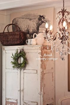 Farmhouse Sheep Artwork Farmhouse Sheep Artwork – I shared this shabby chippy cupboard the other day and a peek at the vignette that was on top of it but I had a lot of questions ab… Decor, French Country House, Cottage Style, French Country Decorating, Farmhouse Decor, Country Farmhouse, Country Decor, Home Decor, Country Bedroom