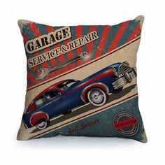 Bring the style of a bygone era to your home with these vintage car cushion covers. Each has a different style and car to choose from. Perfect for the car lover...
