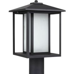 Sea Gull Lighting 89129BL12 Outdoor Post Mount with Seeded Etched Glass Shades Black Finish -- Click on the image for additional details.