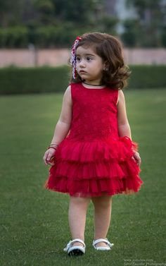 Beautiful Embroided Red Rose dress with flares from KIDSDEW, perfect party wear on every occassion is on limited period sale Baby Frocks Party Wear, Kids Party Wear Dresses, Kids Dress Wear, Baby Girl Party Dresses, Kids Gown, Toddler Girl Dresses, Little Girl Dresses, Kids Wear, Girls Frock Design