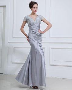 V-neck Floor Length Women's  Dress