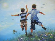 Two Brothers Leaping Art Print boys room wall by VickieWadeFineArt