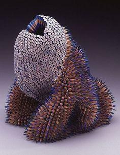 Pencil Sculpture by Jennifer Maestre Found Object Art, Found Art, Unusual Art, Arte Popular, Recycled Art, Art Plastique, Pencil Art, Pencil Crafts, Oeuvre D'art