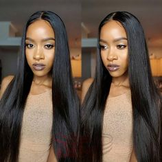 8A Middle Part Lace Front Wig Brazilian Full Lace Wig With Baby Hair Silky Straight Natural Black 1B# Best Delivery