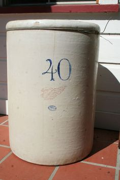 Large Heavy Antique Vintage Red Wing Pottery 40 gallon CROCK, i want this I had this but left it out in winter and it cracked miserably.  So sorry!  K.W.