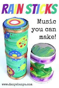 Rain Sticks - DIY recycled / upcycled craft idea for an older toddler or preschooler. Music you can make! Kids also learn fine motor skills, responsibility, South American culture and music… More