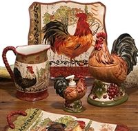 With a French country style, this Tuscan Rooster collection designed by Pamela Gladding will look great on your table. Each piece features a slightly different rooster on a whimsical post card inspired background and scroll work accents. Rooster Kitchen Decor, Rooster Decor, Primitive Kitchen, Tuscan Design, Tuscan Style, Tuscan Decorating, French Country Decorating, French Decor, Chicken Kitchen