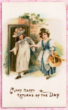 ALL SILK PRETTY GIRLS Postcard TEXTURED SURFACE Lovely Vintage Image Overall! #MANYHAPPYRETURNSOFTHEDAY