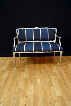 Gorgeous Nautica striped fabric sofa.