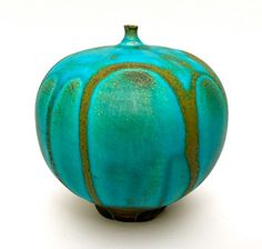 ROSE CABAT FEELIE No. 4, TURQUOISE WITH GOLD DRIPS | My Rose Cabat Pottery Collection