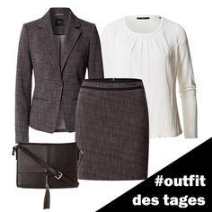 Tweed-Blazer und -Rock in Two-Tone-Optik von zero #zerofashion #outfit #ootd