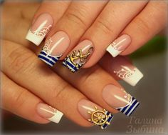 Summer Nail Designs to Have: Nautical Nails - lilostyle Nautical Nail Designs, Nautical Nails, Sea Nails, Navy Nails, Acrylic Nail Designs, Acrylic Nails, Military Nails, Navy Military, Cruise Nails