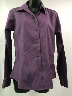 Women's Blouse Small Eddie Bauer Button Front Stretch Purple 97 Cotton | eBay