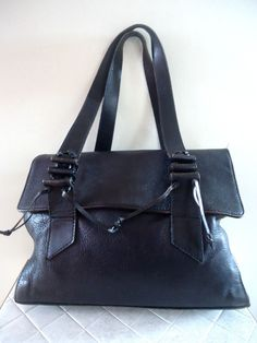 95773e5877 VTG HIDESIGN by RADLEY BLACK GENUINE LEATHER SATCHEL HANDBAG BAG WORKBAG  FLAP