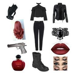 """""""biker girl"""" by marjorieampeters ❤ liked on Polyvore featuring MuuBaa, Wilsons Leather, Arizona, Christian Dior, Topshop, Alice + Olivia, Lime Crime and Beretta"""