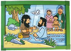 Baptism of Jesus and other Bible Pictures Jesus Crafts, Bible Story Crafts, Bible School Crafts, Bible Stories, Sunday School Activities, Sunday School Lessons, Sunday School Crafts, Preschool Bible Lessons, Bible Activities