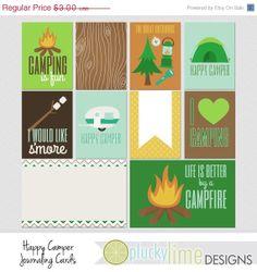 Happy Camper Digital Scrapbooking Project Life Journaling Filler Cards