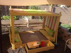 Brag Post of the Day! Nicely Done, Sandbox with Canopy, a perfect spot for the little ones! Modified build by 6sons1lillady, from plans http://ana-white.com/2010/04/large-covered-sandbox and http://ana-white.com/2011/10/plans/sand-box-built-seats