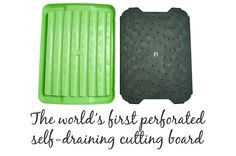 The World's First Perfated Self-Draining Cutting Board has a removable cutting top and a convenient resevior beneath for catching juices. Unique Gadgets, Pure Fun, Kitchen Gadgets, Problem Solving, Home Organization, Flow, Sweet Home, Appliances, Home And Garden