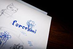 Schizzo del logo Forcellini, brand di mensa universitaria